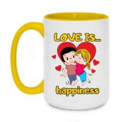 Кружка двоколірна 420ml love is...happyness
