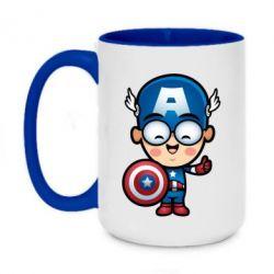 Кружка двухцветная 420ml Маленький Капитан Америка
