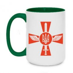 Кружка двухцветная 420ml Меч, крила та герб