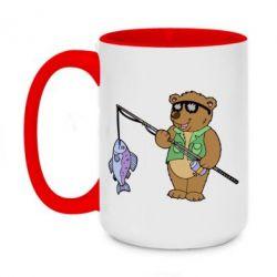 Кружка двоколірна 420ml Ведмідь ловить рибу