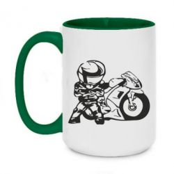 Кружка двухцветная 420ml Мотоциклист - FatLine