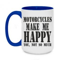 Кружка двухцветная 420ml Motorcycles make me happy you not so much - FatLine