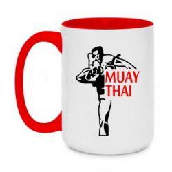 Кружка двоколірна 420ml Muay Thai kick