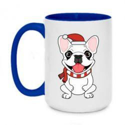 Кружка двухцветная 420ml New Year's French Bulldog