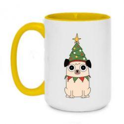 Кружка двоколірна 420ml New Year's Pug