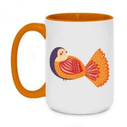 Кружка двоколірна 420ml Painted with patterns Bird