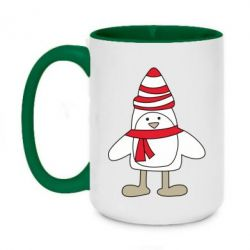Кружка двоколірна 420ml Penguin in the hat and scarf