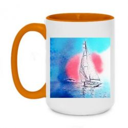 Кружка двоколірна 420ml Picture of a ship in the sunset