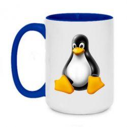 Кружка двоколірна 420ml Пингвин Linux