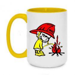Кружка двухцветная 420ml Писающий хулиган-пожарный