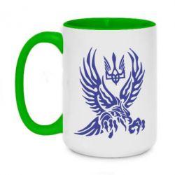 Кружка двоколірна 420ml Птах та герб