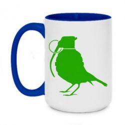 Кружка двухцветная 420ml Птичка с гранатой