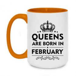 Кружка двухцветная 420ml Queens are born in February - FatLine