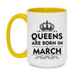 Кружка двухцветная 420ml Queens are born in March - FatLine