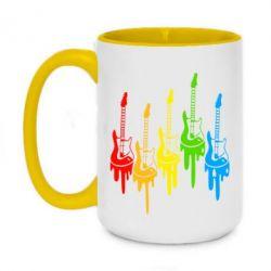 Кружка двухцветная 420ml Разноцветные гитары