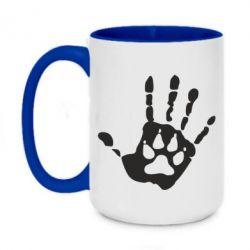 Кружка двухцветная 420ml Рука волка