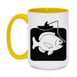Кружка двоколірна 420ml Риба на гачку