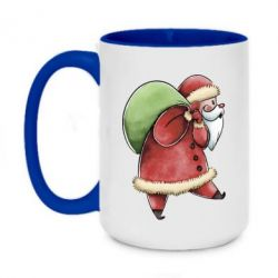 Кружка двоколірна 420ml Santa Claus is carrying gifts