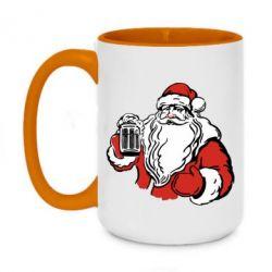 Кружка двухцветная 420ml Santa Claus with beer
