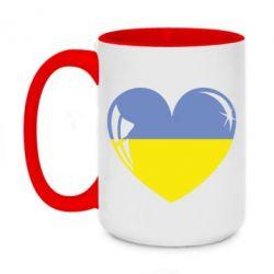 Кружка двоколірна 420ml Серце України