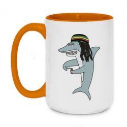 Кружка двоколірна 420ml Shark Rastaman