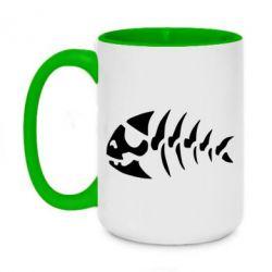 Кружка двухцветная 420ml скелет рыбки