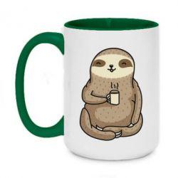 Кружка двоколірна 420ml Sloth loves coffee