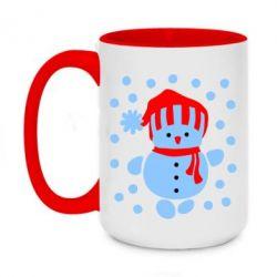 Кружка двухцветная 420ml Снеговик в шапке - FatLine