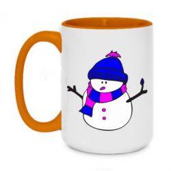 Кружка двухцветная 420ml Снеговик