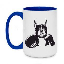 Кружка двоколірна 420ml Собака в боксерських рукавичках