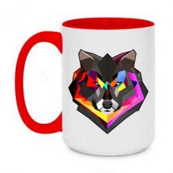 Кружка двухцветная 420ml Сolorful wolf