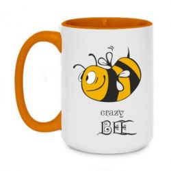 Кружка двухцветная 420ml Сумасшедшая пчелка