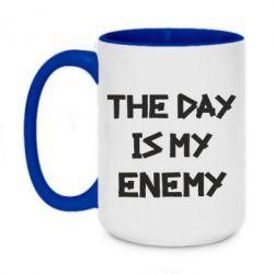 Кружка двухцветная 420ml The day is my enemy