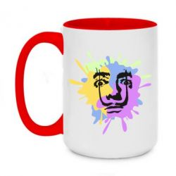 Кружка двоколірна 420ml The face of Salvador Dali on the edge