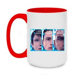 Кружка двоколірна 420ml The faces of androids game Detroit: Become human
