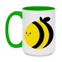 Кружка двоколірна 420ml товста бджілка