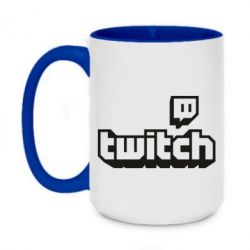 Кружка двоколірна 420ml Twitch logotip