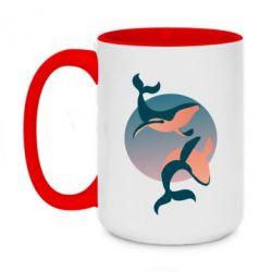 Кружка двоколірна 420ml Two whales