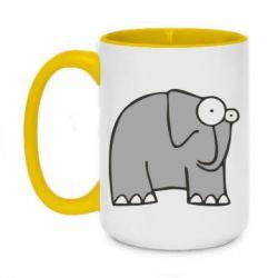 Кружка двухцветная 420ml удивленный слон - FatLine