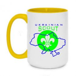 Кружка двухцветная 420ml Ukrainian Scout Map - FatLine