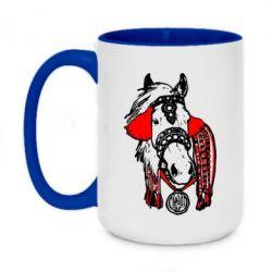 Кружка двухцветная 420ml Українській кінь - FatLine