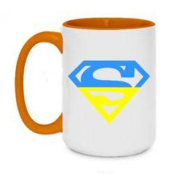 Кружка двухцветная 420ml Український Superman - FatLine