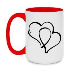 Кружка двухцветная 420ml Влюбленные сердца