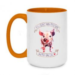 Кружка двоколірна 420ml You don't win friends with bacon