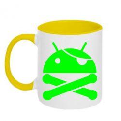 Кружка двухцветная Android Pirate - FatLine