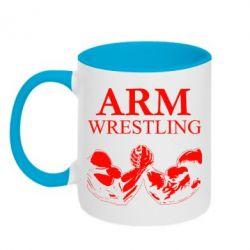 Кружка двоколірна 320ml Arm Wrestling
