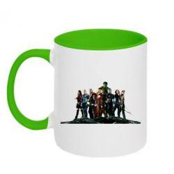 Кружка двухцветная Avengers on the rock