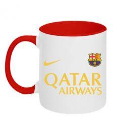 Кружка двухцветная Барселона - FatLine