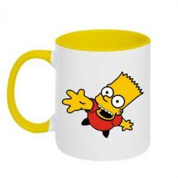Кружка двухцветная Барт Симпсон - FatLine