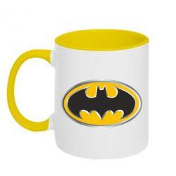 Кружка двухцветная Batman Gold Logo - FatLine
